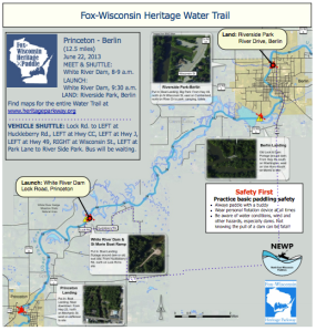 For a printable map click this link:  http://www.wisconsinpaddlers.org/media/111192/2013princeberlin.pdf